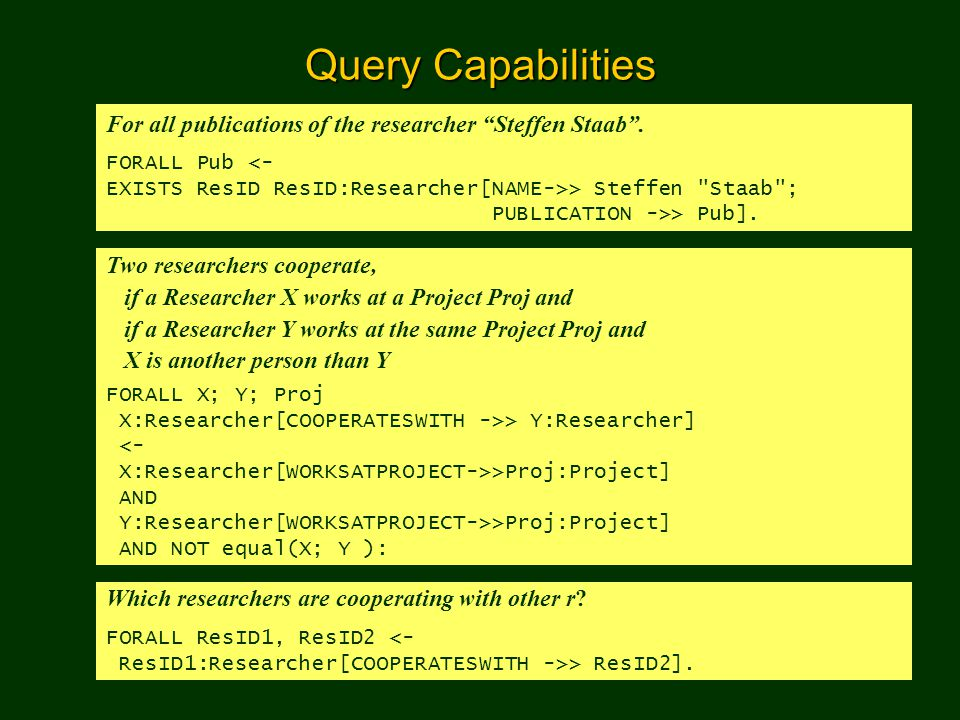 Query Capabilities For all publications of the researcher Steffen Staab . FORALL Pub <- EXISTS ResID ResID:Researcher[NAME->> Steffen Staab ;